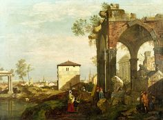 """Bellotto Bernardo - Caprice Landscape With Ruins Stile Lo N G  (from <a href=""""http://www.oldpainters.org/picture.php?/45941/category/15206""""></a>)"""