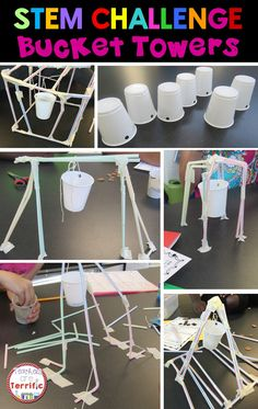 Can you build a tower with a suspended bucket? The bucket must also hold weight! STEM Challenge + Problem Solving + Collaboration = FUN!