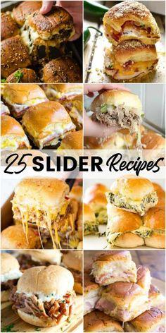 25 Slider Recipes Gourmet Sandwiches, Slider Sandwiches, Appetizer Sandwiches, Sandwich Bar, Panini Sandwiches, Sandwich Ideas, Breakfast Sandwiches, Mini Party Sandwiches, Sandwich Recipes