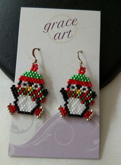 Your place to buy and sell all things handmade Beaded Earrings Patterns, Seed Bead Patterns, Seed Bead Earrings, Beading Patterns, Beaded Jewelry, Bracelet Patterns, Seed Beads, Jewellery, Beaded Christmas Ornaments