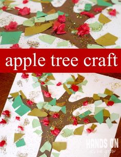 An apple tree craft @Katie Forseth , this reminds me of what you said today, only use their hand and arm as the tree trunk.  Torn paper for leaves, red Pom poms for apples?