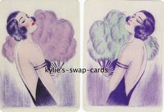 R18 LOVELY ART DECO LADIES swap playing cards MINT COND pretty with fan LINEN #2