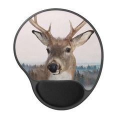 Whitetail Deer Double Exposure Gel Mousepad