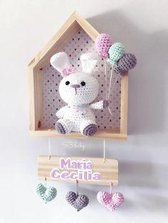 Crochet Toys, Crochet Baby, Crochet Wall Art, Nursery Frames, Handmade Home Decor, Handmade Baby, Nursery Accessories, Baby Room Design, Stone Crafts