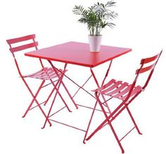 Bistro Dining Chair and Table Set 3 Pieces 2 Seat Red