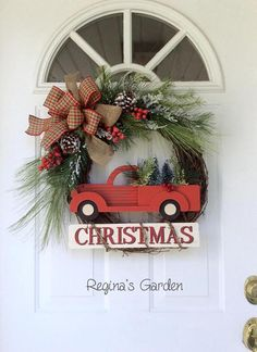 This Christmas wreath takes me back to simpler times. It brings back memories of the magic of the Christmas season, and all the joy we found in placing an evergreen wreath on the door, making ornaments for the tree and baking cookies with my mom. The iconic red pickup truck with fresh cut trees in the back is the focal point of this simple yet stunning wreath. Below it hangs a wooden sign wrapped with grapevine with the word Christmas. Natural-looking evergreen branches tipped in snow and…