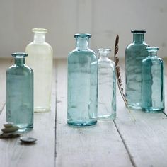 recycled glass vases blue white clear west elm