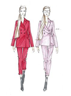 Suit Duo Sketch // by Elise Vavrus Krohn Dress Design Sketches, Fashion Design Sketchbook, Fashion Design Drawings, Fashion Sketches, Vogue Fashion Photography, Fashion Drawing Dresses, Fashion Dresses, Fashion Illustration Dresses, N21
