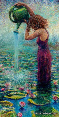 Thirsty Water Lilies by Iris Scott, finger painting artist Art Et Illustration, Illustrations, Art Amour, Arte Van Gogh, Finger Painting, Fine Art, Artist Painting, Painting Process, Oeuvre D'art