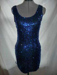Vintage Blue Sequin Dress by IOU Size Small Mini Cutout Back 80s | eBay