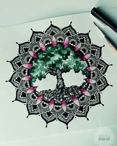 tree of life. #mandala #blackwork #dotwork #watercolor #treeoflife #geometric #abstract - Artwork done by Lejla Jusufi