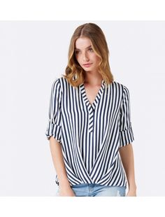 Chrissy Tuck Front Blouse Stripe - Womens Fashion | Forever New