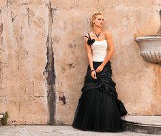 Black and white wedding dress by Linea Raffaelli