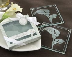 """Wedding Style - """"Calla Lilies"""" Frosted-Glass Coasters in Floral-Inspired Gift Box (as low as $ 2.69), $4.29 (http://www.weddingstyle.ca/calla-lilies-frosted-coasters/)"""
