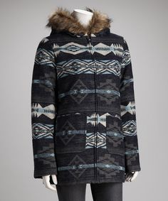 Take a look at this KC Collections Blue Tribal Faux Fur Collar Coat - Women by KC Collections on #zulily today!