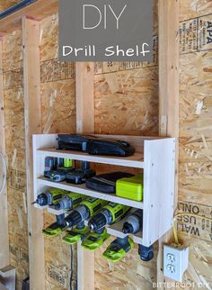 Build a drill storage shelf to organize drills, chargers, batteries, and bits. Grab the free plans and tutorial from Bitterroot DIY.