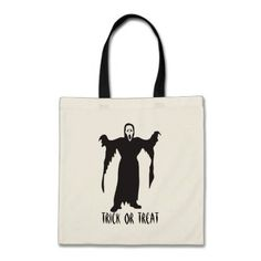 Scary Halloween Ghost Trick or Treat Tote Bag - click/tap to personalize and buy