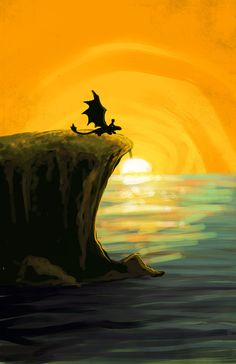 Toothless and Hiccup in the sunset. [HtTYD]