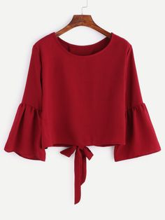 Shop Burgundy Bell Sleeve Bow Tie Back Blouse online. SheIn offers Burgundy Bell Sleeve Bow Tie Back Blouse & more to fit your fashionable needs. Summer Outfits, Girl Outfits, Casual Outfits, Cute Outfits, Hijab Fashion, Girl Fashion, Fashion Outfits, Fashion Black, Fashion Styles