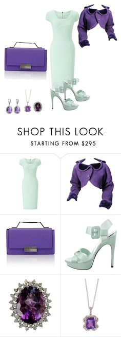 """""""Green Pastel"""" by angeladt-1 ❤ liked on Polyvore featuring Roland Mouret, Lanvin, J. Mendel, Roger Vivier, Effy Jewelry and Stephen Dweck"""