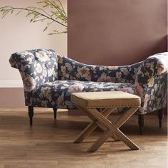 Craft an elegant living room seating ensemble or tie together the master suite with this timeless chaise, showcasing a classic floral motif for a dash of garden-inspired style.