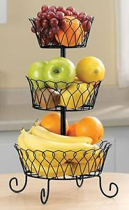 3 Tier Fruit Basket by Miles Kimball | eBay $15 with free shipping.  Spray paint white