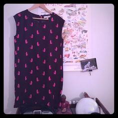 Cute Ann Taylor loft cat printed tunic dress. Dark purple with pink and red printed cats. So cute! Size petite small LOFT Dresses Mini