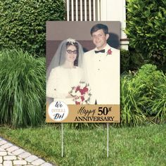 50th Anniversary Photo Yard Sign  Wedding Anniversary Party   Etsy