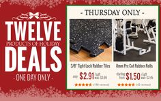 "Today's special Holiday Deals include our 3/8"" Tight Lock Rubber Tiles & our 8mm Pre Cut Rubber Rolls! Whether for a residential or commercial gym, we have options for you!  To shop our 3/8"" Tight Lock Rubber Tiles, click here: www.rubberflooringinc.com/interlocking-tile/universal-rubber-tile.html  To shop our 8mm Pre Cut Rubber Rolls, click here: www.rubberflooringinc.com/rubber-roll/8mm-pre-cut-roll.html"