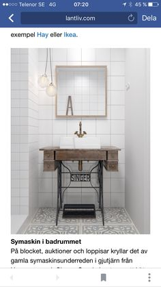 Small Space Solutions: Super Cute Sewing Table Hack to Upgrade Your Compact Bathroom Vanity Industrial Bathroom Vanity, Vintage Bathroom Sinks, Compact Bathroom, Bathroom Vanities, Bathroom Pink, Bathroom Showers, Mirror Bathroom, Bathroom Basin, Master Bathroom