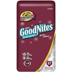 Huggies Pull-Ups Goodnites Underpants, Girls, Small/Medium, 17-Count, (pull ups, pull-ups, huggies, training pants, huggies pull-ups, potty training, required by law for all children, princess, pull ups training, pullups)