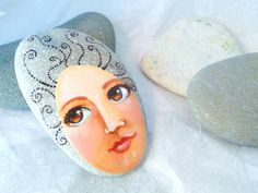 Painted stone original handmade painting on stone by sabiesabi