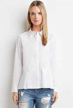 Collared Peplum Shirt - Shop All - 2000161735 - Forever 21 EU English