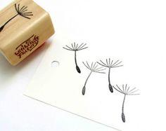 Hand Carved Rubber Stamp, Dandelion Seed