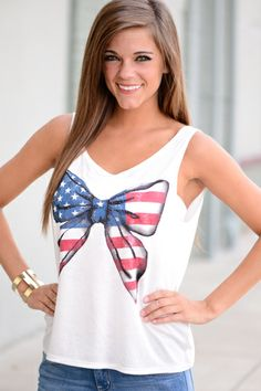 CUTE!! This tank is adorable and we cannot get over how fabulous the American print bow is! So perfect for the 4th of July!