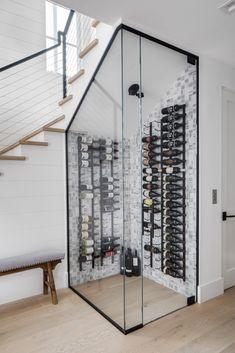 Wine Cellar Modern, Glass Wine Cellar, Home Wine Cellars, Wine Cellar Design, Bar Under Stairs, Under Stairs Wine Cellar, Home Theater Rooms, Home Theater Design, Basement Bar Designs