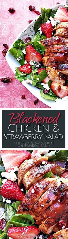 Cookout Ideas That Won't Tip the Sugar Scales Full of spinach, feta, dried cranberries, and lots of fresh strawberries this Blackened Chicken & Strawberry Salad makes a perfect summer meal. Healthy Snacks, Healthy Eating, Healthy Recipes, Healthy Summer Dinner Recipes, Summer Chicken Recipes, Vegetarian Recipes, Blackened Chicken, Summer Salads, Summer Dishes