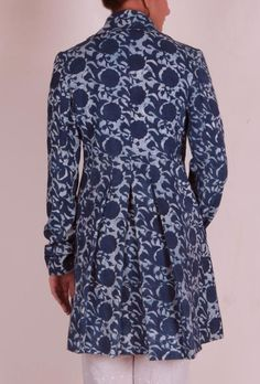 Blue Bagru trench coat with wooden button and side pockets Buttons Online, Shirt Dress Pattern, Lehnga Dress, Stylish Coat, Brocade Fabric, Saree Blouse Designs, Style Me, Jacket, Office Wear