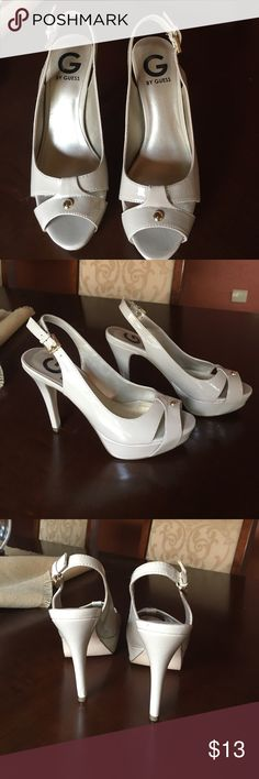 Nude Guess Patent Leather Peep-toe Slingbacks Great used condition, 4 1/2 in heel with 1 in platform G by Guess Shoes Heels