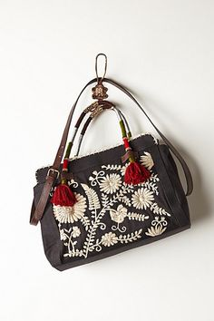 Campanillas Threadwork Satchel #anthropologie #black&white #awesome