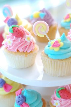 candy colors cupcake