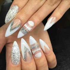 """20 Worth Trying Long Stiletto Nails Designs - Stylendesigns - Did you ever heard this famous quote from Marilyn Monroe, """"I don't know who invented high heels - Long White Nails, Long Almond Nails, Long Stiletto Nails, Pointed Nails, Almond Nails Designs, White Nail Designs, Acrylic Nail Designs, Nail Art Designs, Acrylic Nails"""