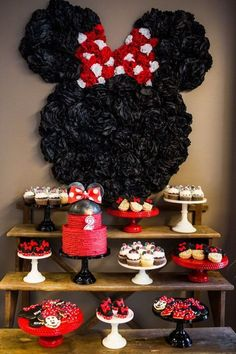 Celebrate your birthday with a some adorable Minnie Mouse ideas! Does your little sweetheart love Minnie Mouse? Minnie Mouse Party Decorations, Minnie Mouse Theme Party, Minnie Mouse 1st Birthday, Minnie Mouse Baby Shower, Minnie Mouse Cake, Mickey Mouse Parties, Mickey Party, Girl Birthday, Bolo Minnie