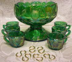 Mosser Glass Hunter Green Carnival Mini Punch Bowl Set | eBay