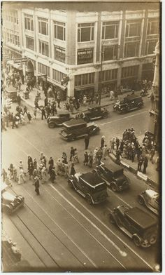 Fabulous late 1920s downtown Dallas Texas street scene at the corner of Akard and Main st.  Vibrant street activity with cars and pedestrians everywhere. This image and another I am offering from this same corner of the Kirby Building date to around 1928.  From CrowCreekUnique on Etsy