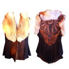 Zahara 1970 Shearling Vest w/ Red Fox Collar