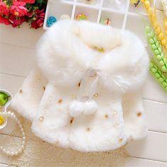 Fast High Quality Children Clothing 2016 Korean Fashion Cute Dot Beading Faux Fur Coat Outwear  Baby Girls Clothes Autumn&spring