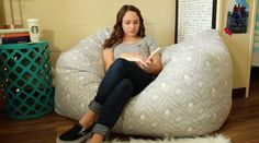 DIY Bean Bag Chair- The best way to achieve added seating in your dorm is with a bean bag chair, so take it a step further and make your own!