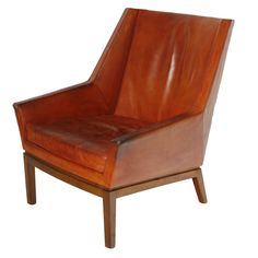 Erik Kolling-Andersen; Rosewood and Leather Easy Chair for Peder Pedersen, c1954