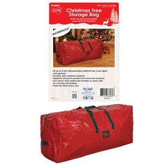 """Christmas artificial tree storage bag holds a disassembled 8' tree, lays flat when not in use, zipper closure, sturdy durable material with handles for easy carrying.Color: red and greenSize: 48"""" x 15.7"""" x 20.5"""" One stylePackaged for Easy Resale. Each style is UPC coded.Not Prepriced. - 6 UNITS Christmas Tree Storage Bag, Artificial Tree, Bag Storage, Color Red, Christmas Holidays, The Unit, Closure, Zipper, Flat"""